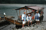 The tour boat with its crew, where tourists may watch the fishing procedure while dining ayu ( sweetfish)