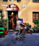 The client comes by bicycle