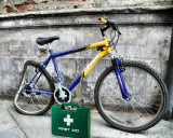 The bicycle , which had an accident, is going to be  cured...