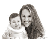 mommy and daughter bw