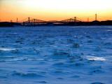 Aurore sur les ponts de Québec