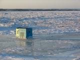 Cabanes de pêche sur glace à l'Isle verte