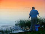 le plaisir de pêcher à l'aube