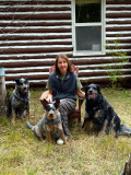 Shirl with our dogs Shadow, Ace and Bandit
