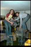 Josiah and me stacking crates