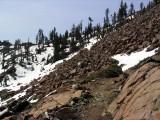 Snow along pct near East Boulder lake