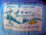 Early 1970s REI down bag label