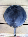 1890s Erie #12 Large Cast Iron Skillet