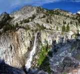 Grizzly Falls panorama at sunset