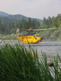 S-61 almost sits on the water as it pumps
