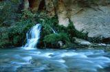 Waterfall Cascading into Virgin River, Zion