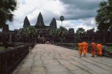 Monks approaching Angkor Wat