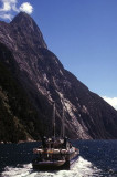 Mitre Peak and Boat at Milford Sound