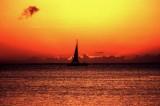 Boat at sunset, Moorea