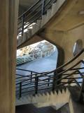 Looking down circular stairway