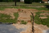 Digging the trenches and hole for the pier