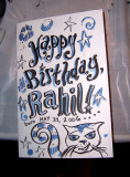 Mikhaela's birthday card for Rahil (front)