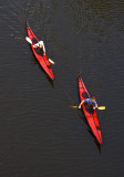 2 red canoes