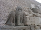 West side:  this lion and bird were made of black basalt.
