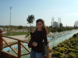 Mona at the riverside park outside the mosque
