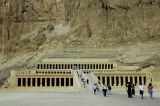 rising out of the desert plain, the Temple of Hatshepsut merges with the sheer limestone cliffs