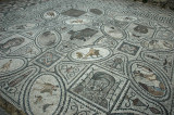 a mosaic with vignettes of most of the Labors of Hercules (House of the Labours of Hercules)