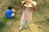 Two women winnowing rice