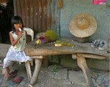 girl eating ice candy with jackfruit