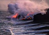 Lava flow into ocean, Big Island of Hawaii