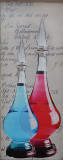 Red and Blue bottles.