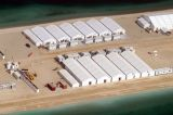 Close up of accomodation tents and ablution blocks at the Palm Jumeirah's worker camp