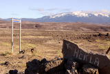 Painted rock pointing out Mount Hekla