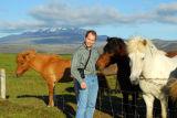 Roy and Icelandic horses near Mount Hekla