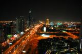 Sheikh Zayed Road at night from U.P. Tower (next to Emirates Towers)