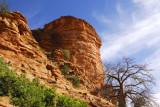 Red rock cliffs of the Bandiagara Escarpment above Tereli, Mali