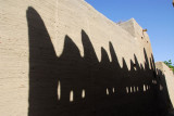 Shadow of the roofline of a Sudanese-style mudbrick building, Kotaka