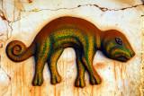Bas-relief chameleon, Chez Yemadje, Abomey, Benin