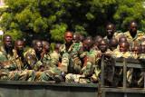 Senegalese soldiers driving through Dakar