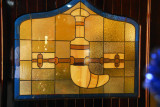 Stained glass window with a khanjar, Al Diyar Hotel, Nizwa