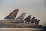 747's lined up at Cape Town