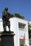 Heroic statue with its plaque missing