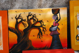 Painting of a baobab and an African woman, Dakar