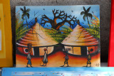 Painting with two African huts, Dakar