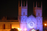 Church of St. Francis Xavier illuminated at night, Melaka