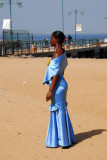 Senegalese woman in a beautiful blue dress