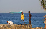 Boys on the seawall, Île de Gorée