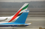 Emirates A332 A6-EKY with Israel Airlines 4X-EBT at Milan-Malpensa MXP