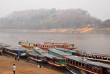 Boats waiting on the bank of the Mekong River at Luang Prabang