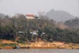 Hilltop temple opposite the boat landing at Luang Prabang