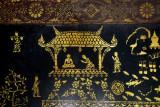 Gold stenciled design depicting legendary King Chanthaphanit